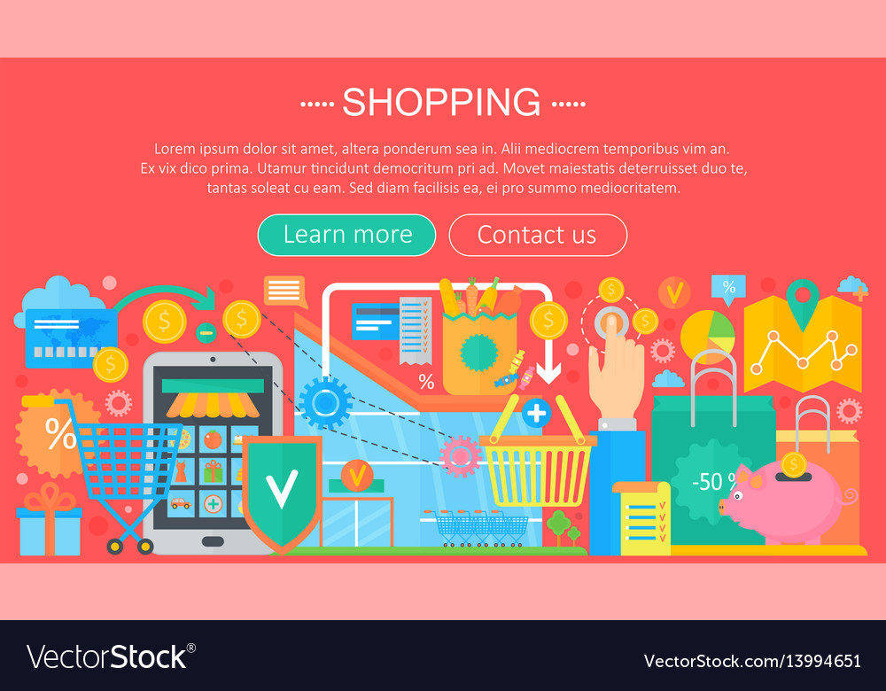 Shopping online and e-commerce shopping concept