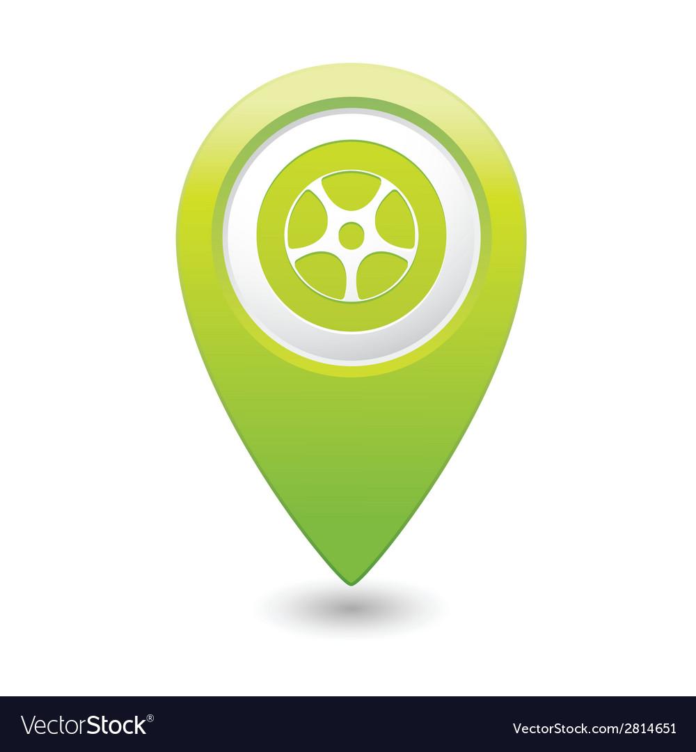 Wheel icon green map pointer
