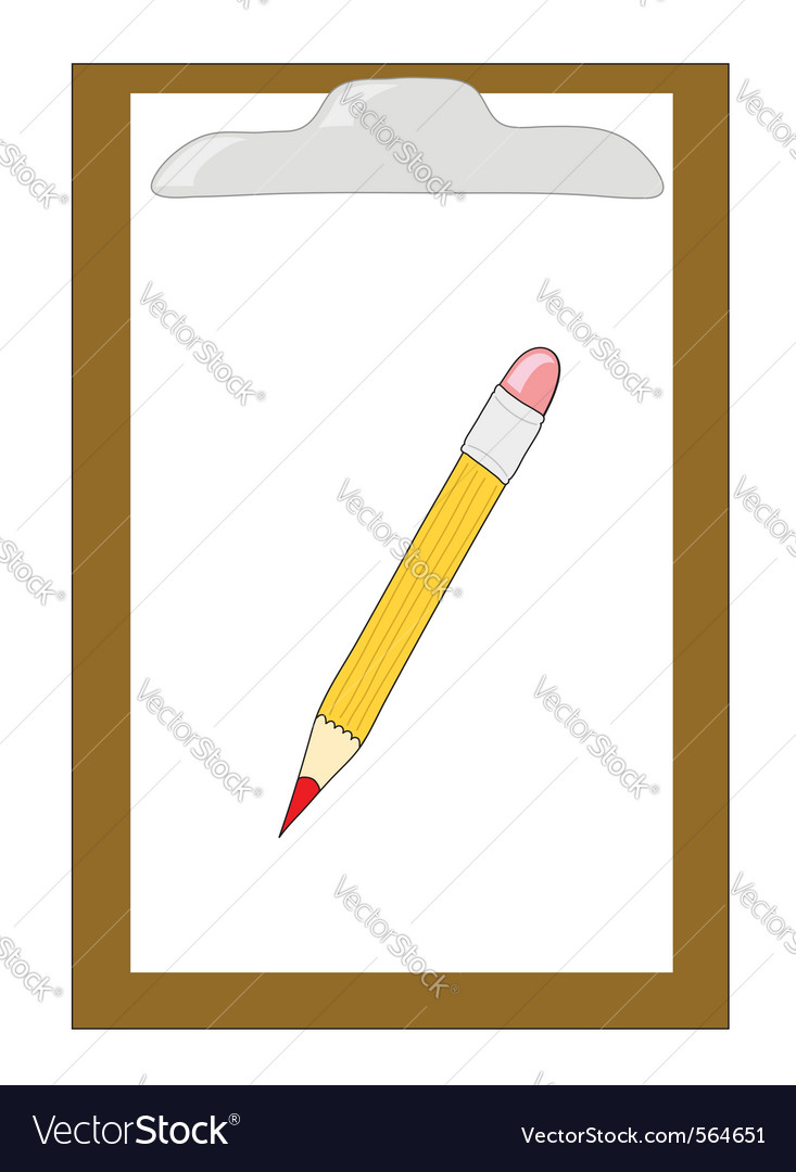 wooden clipboard with pencil royalty free vector image