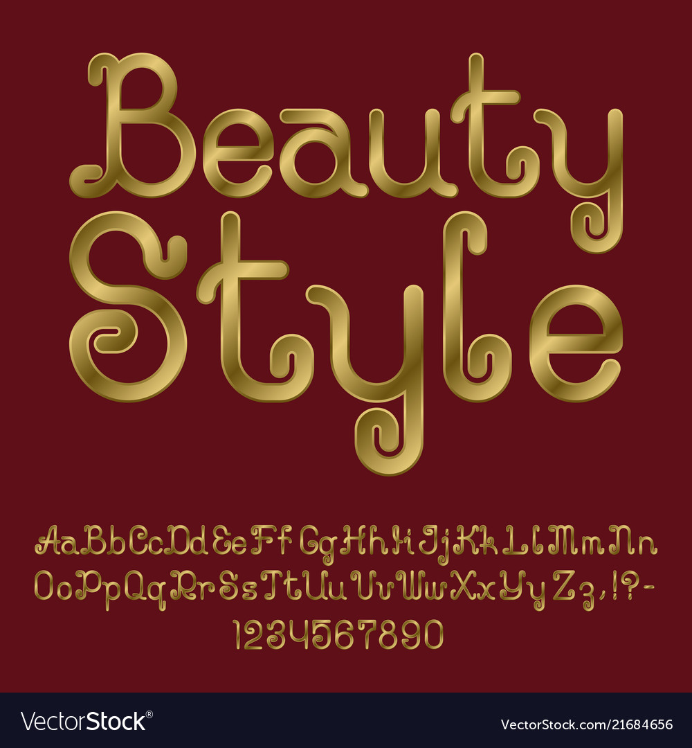 Beautiful golden curly font isolated alphabet