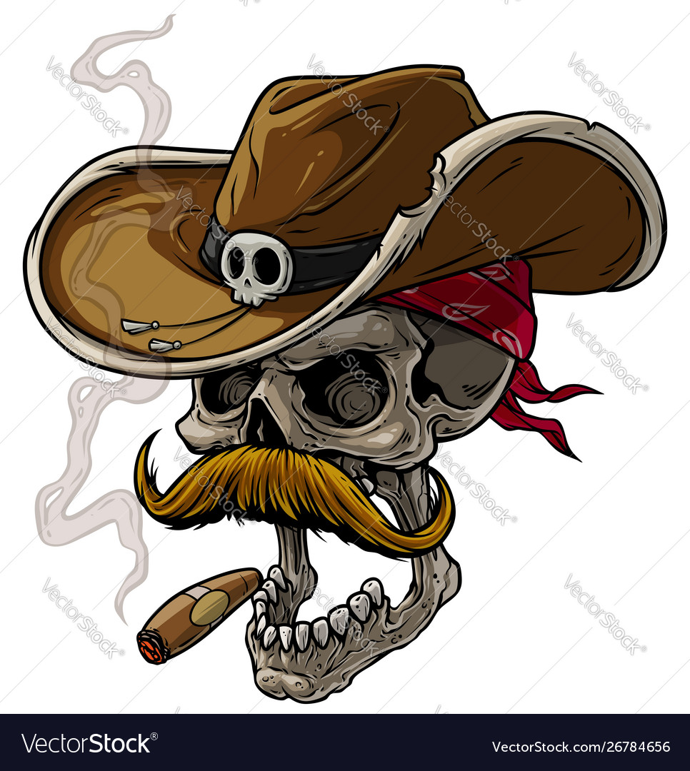 Cartoon cowboy skull with hat mustache and cigar