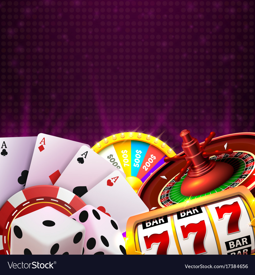 Casino dice banner signboard on background