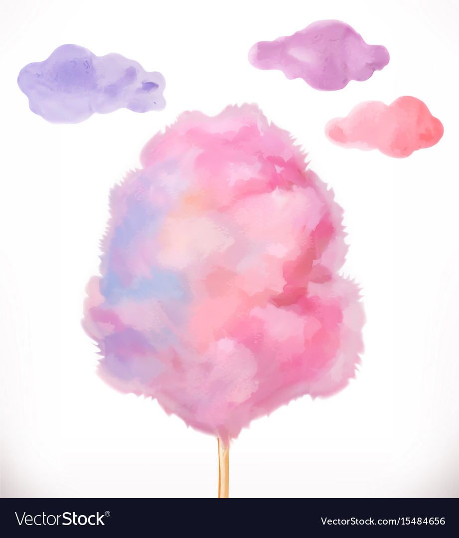 on sale 92fd8 2abed Cotton candy sugar clouds watercolor vector image