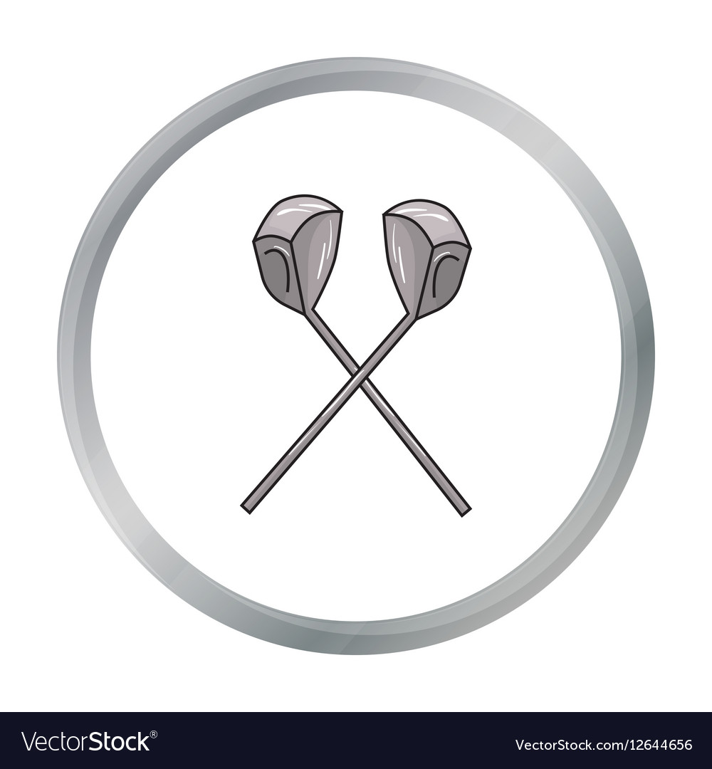 Crossed golf clubs icon in cartoon style isolated