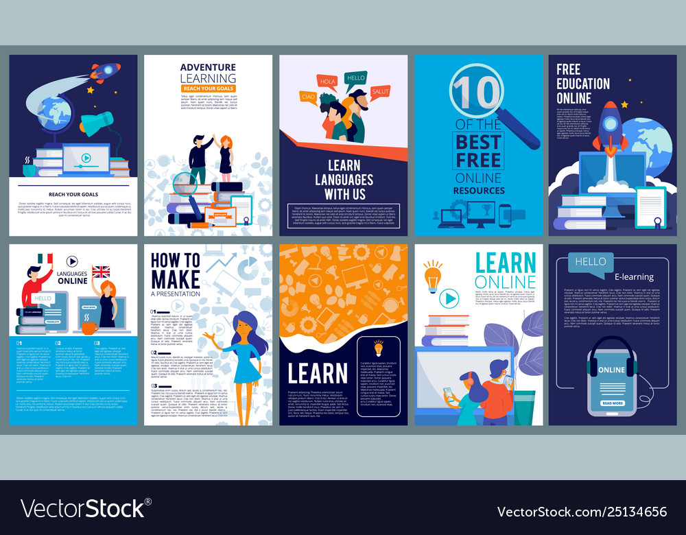 Education online covers posters or ads flyer
