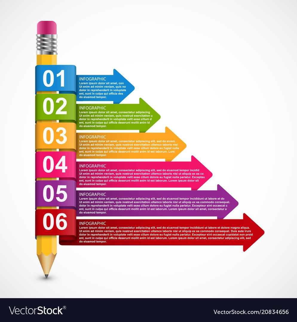 Educational infographics template with pencil and