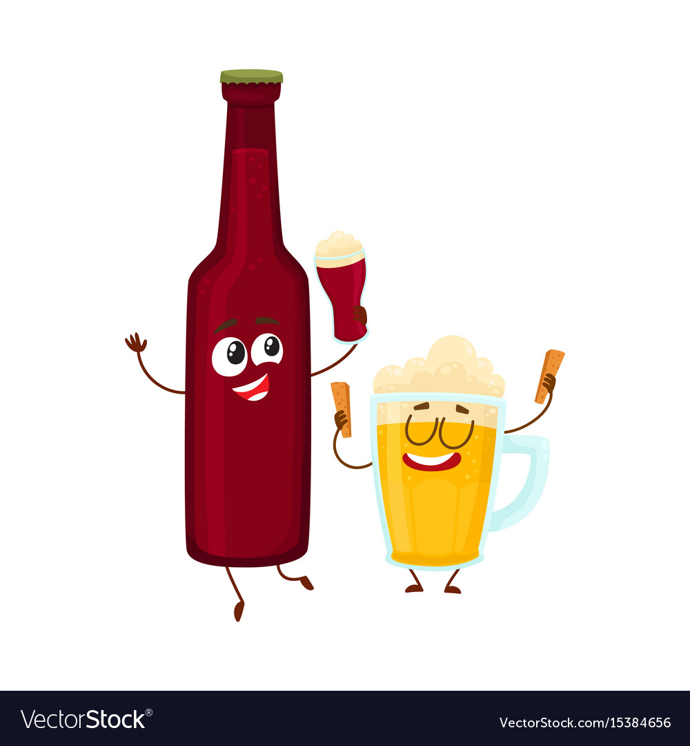 Funny beer bottle and glass characters having fun