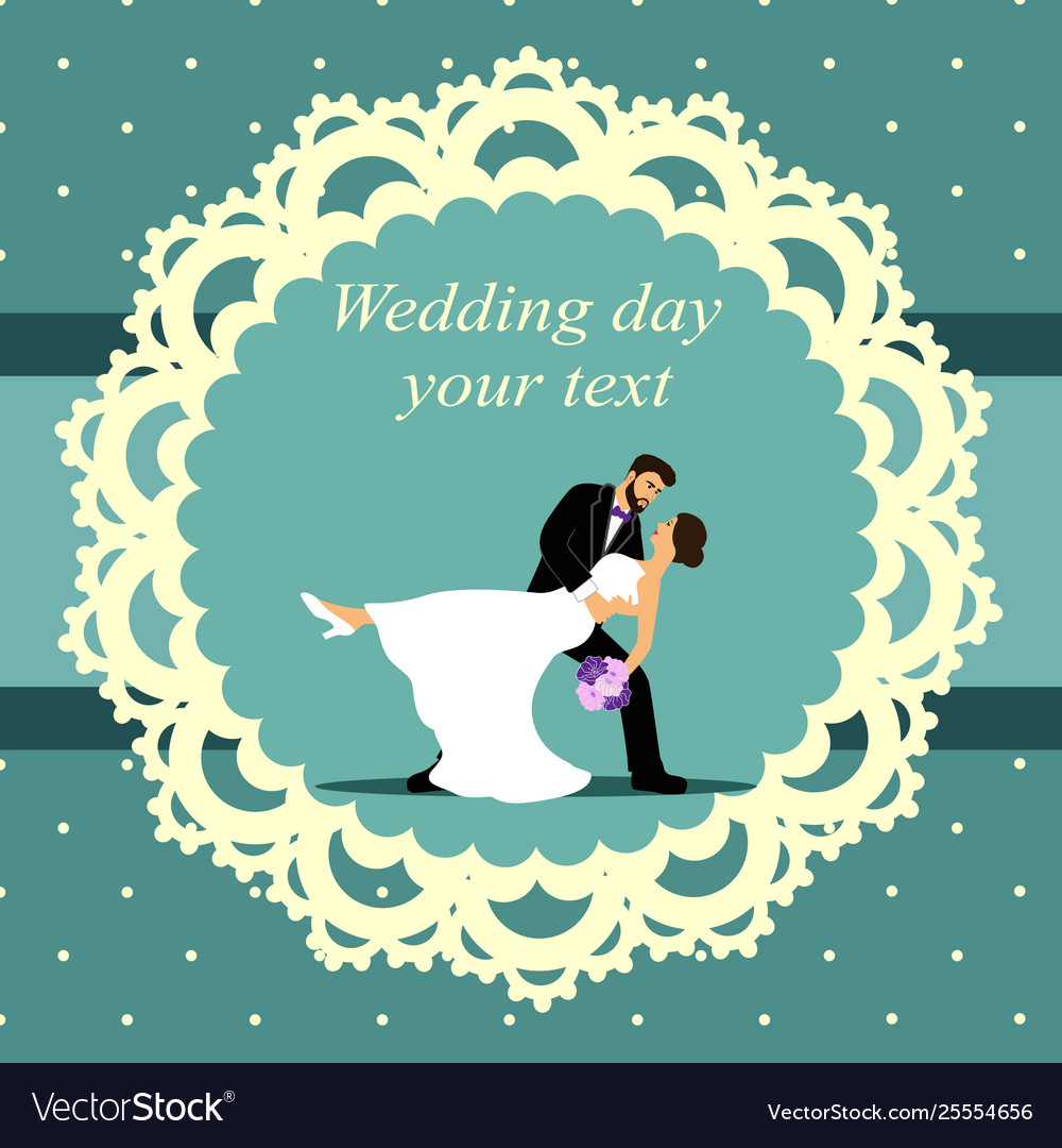 Invitation card with bride and groom in