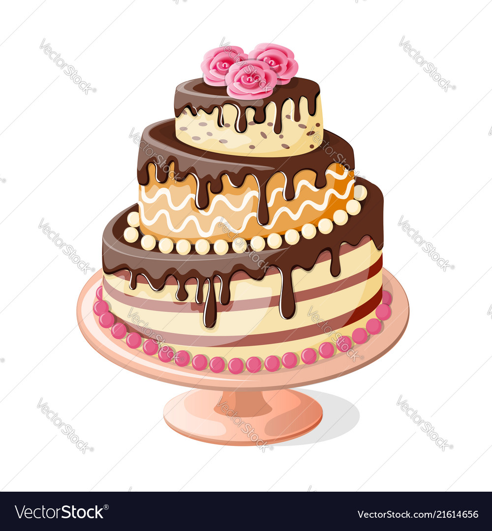 Terrific Isolated Birthday Cake Tier With Roses Royalty Free Vector Birthday Cards Printable Trancafe Filternl