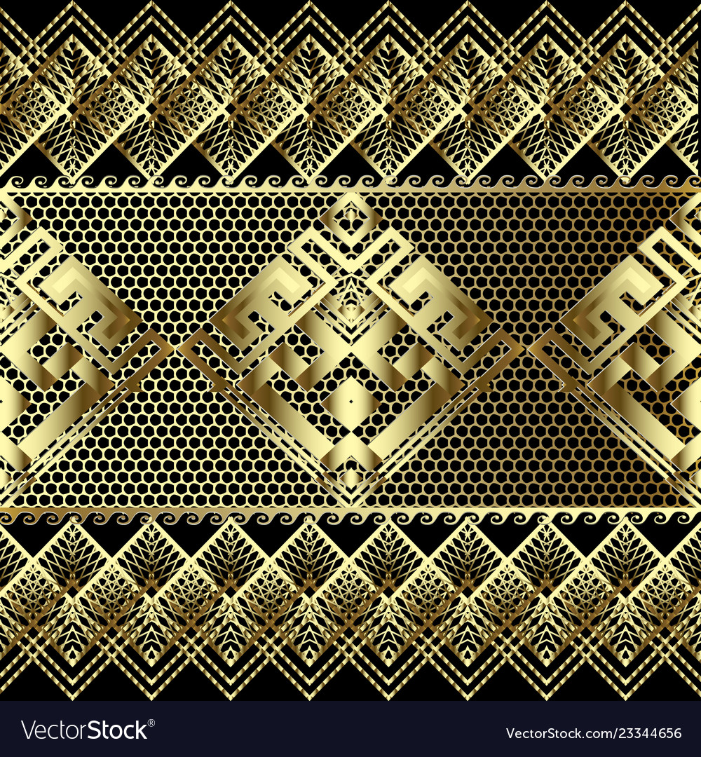 Lace textured gold 3d greek seamless border