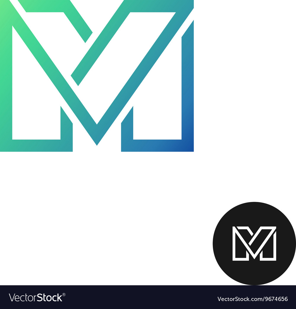 Letter M divided wide line style colorful logo