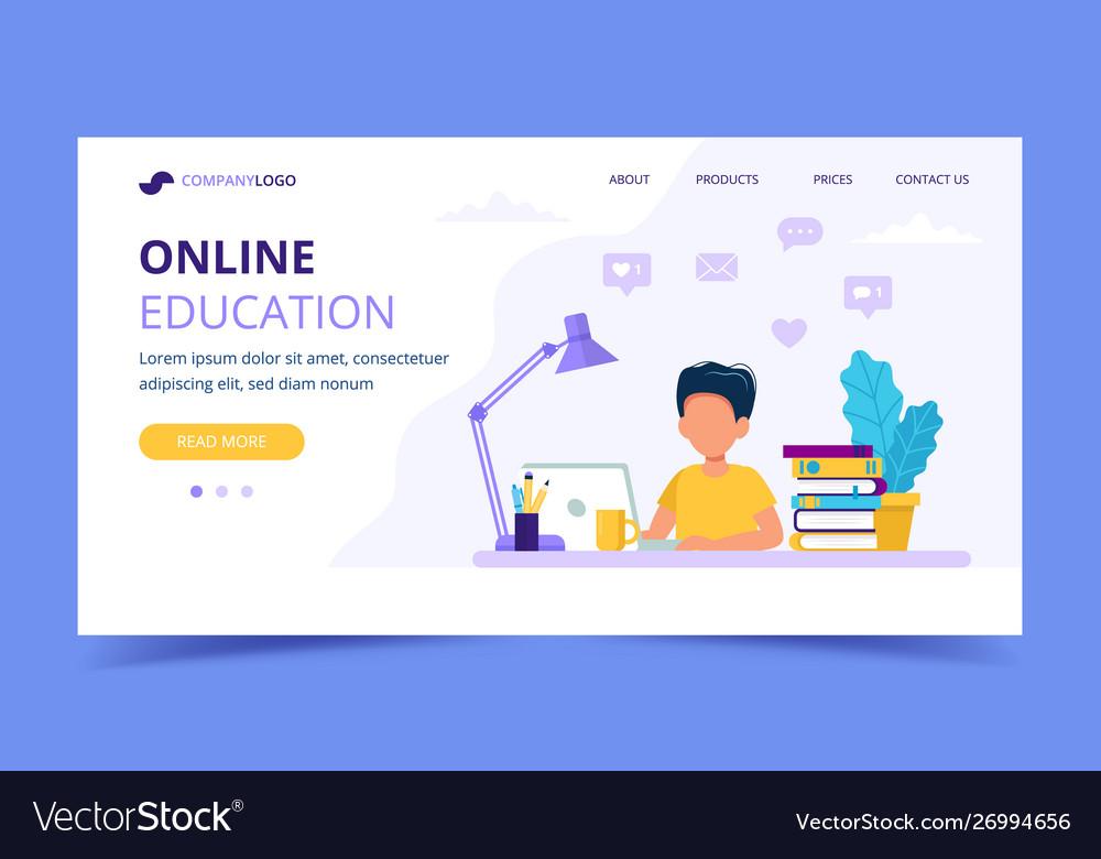 Online education for children landing page boy