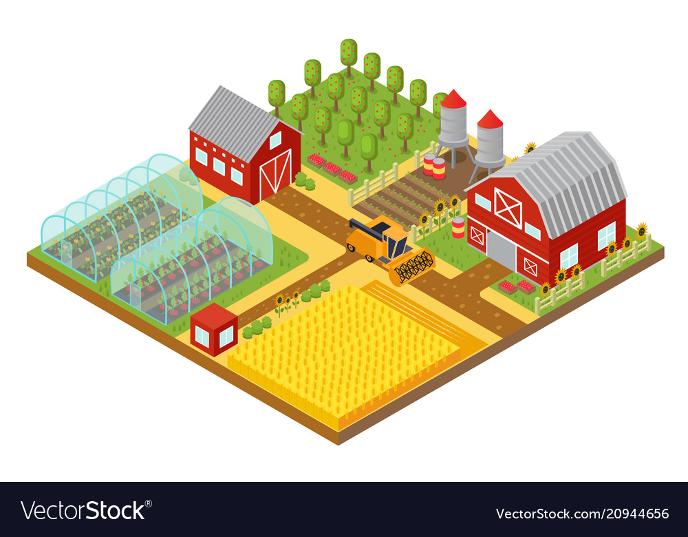 Rural 3d farm isometric template with garden