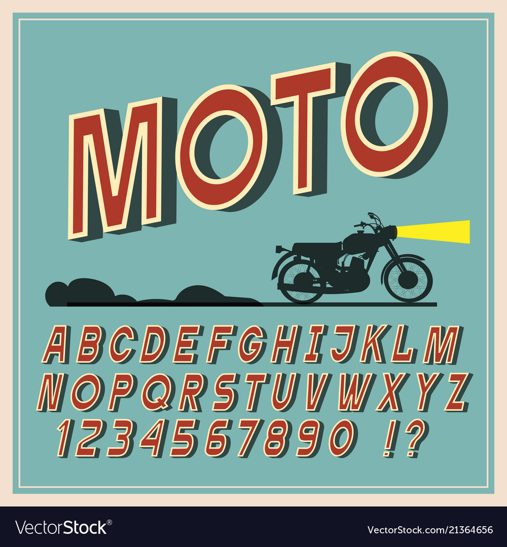 Vintage font retro letters and numbers