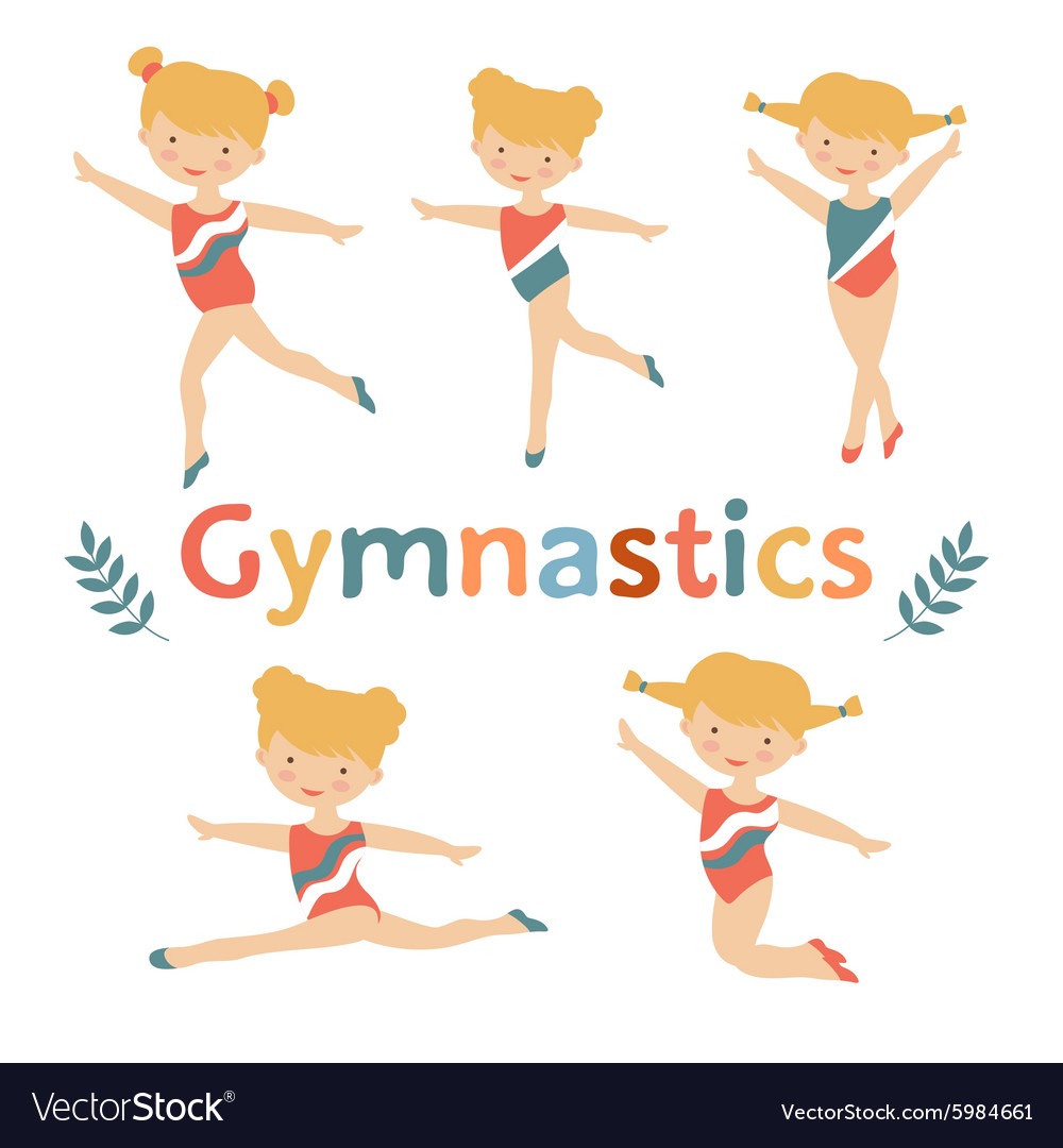 Adorable little gymnast girls characters set