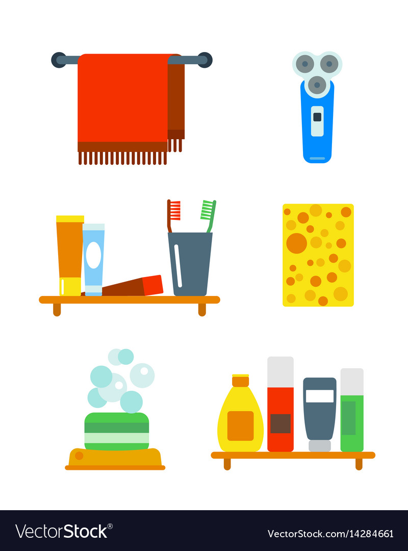 Bath equipment icons shower flat style colorful