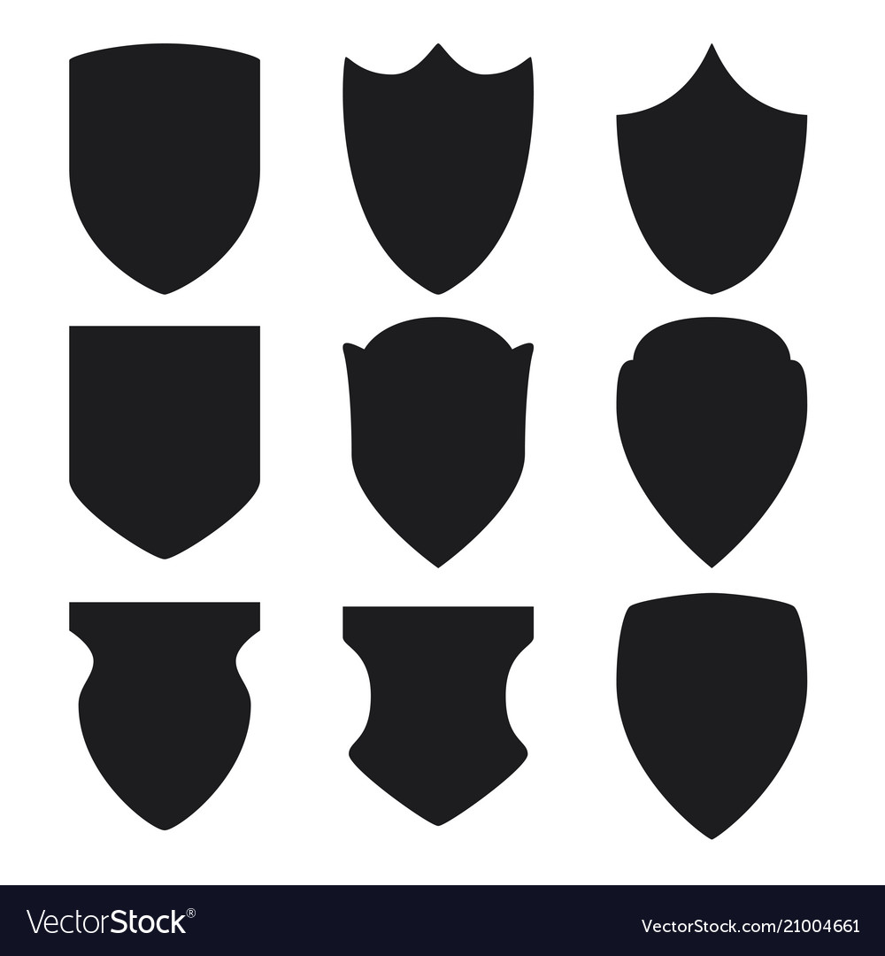 Black shield icons set on white background