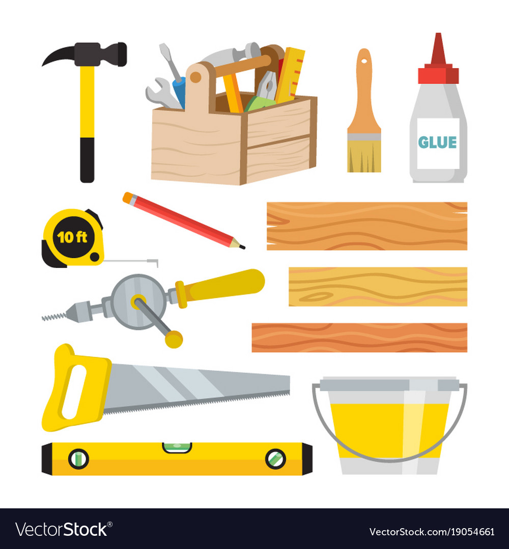 Carpentry And Woodwork Tools Set Repair Royalty Free Vector