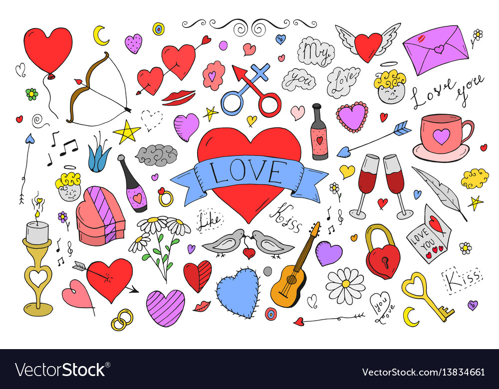Collection Of Colorful Valentines Day Elements In Vector Image