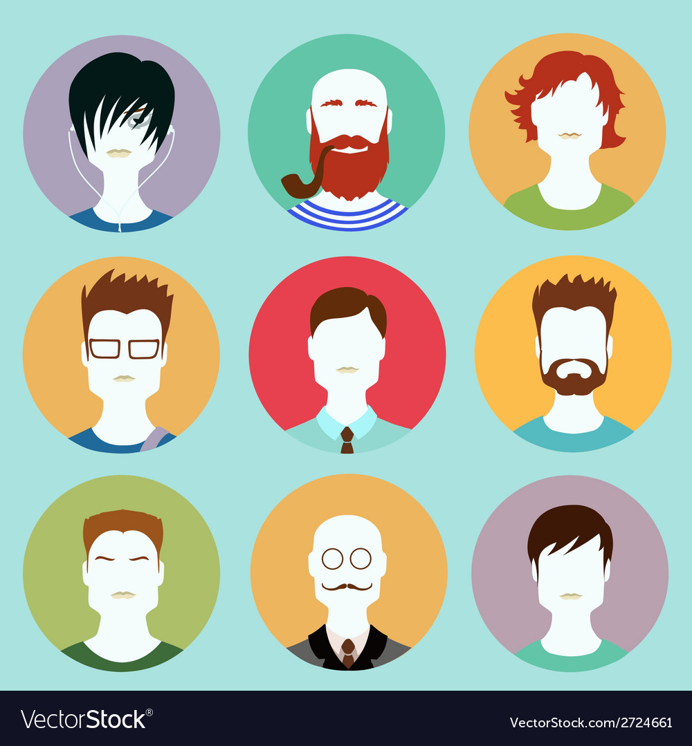 Colorful Male Faces Circle Icons Set in Trendy