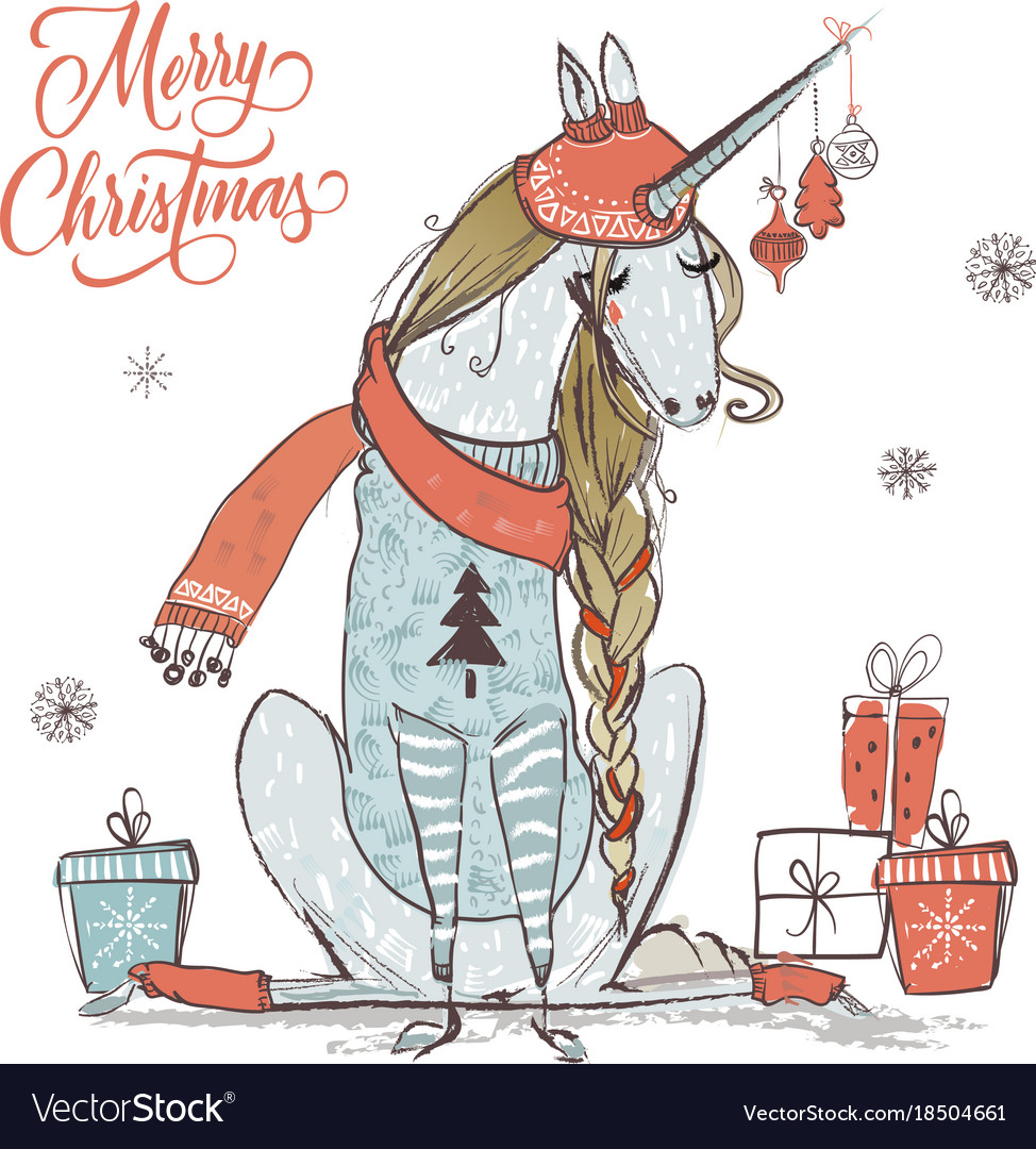 cute christmas unicorn vector image - Christmas Unicorn