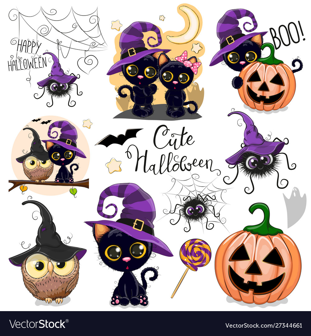 Cute halloween with owl black cat and spider