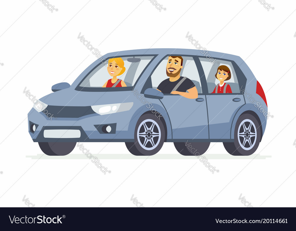 Family in the car - cartoon people character vector image