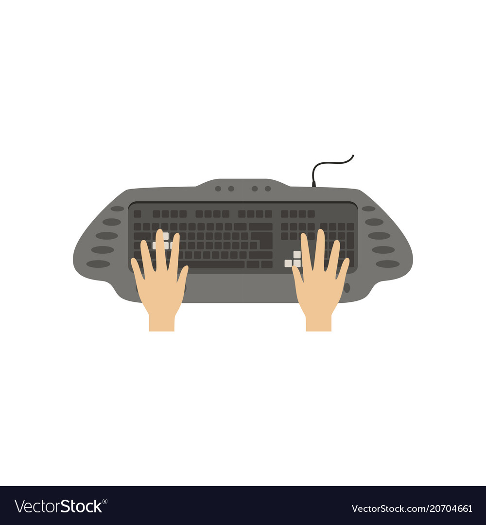 Hands using computer keyboard people working with