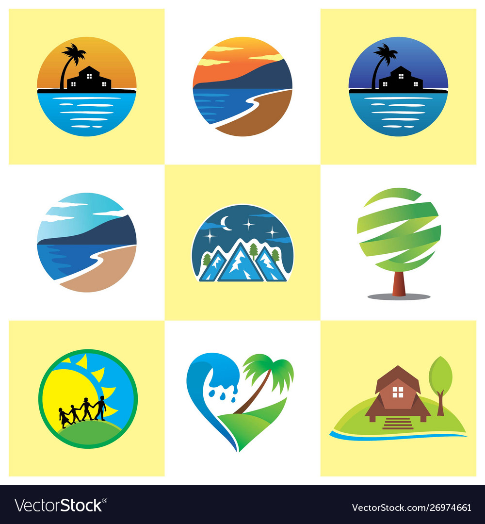 Nature beach resort logo image vector image