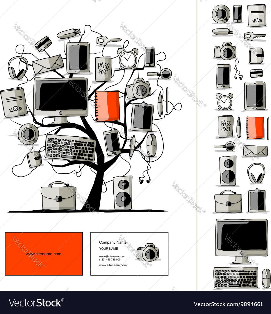 Set of digital office devices Sketch for your