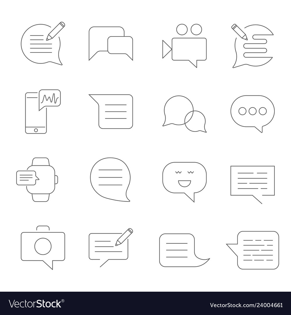 Set of message related line icons sms