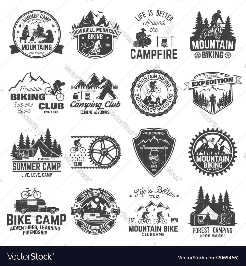 Set of mountain biking and camping club badge