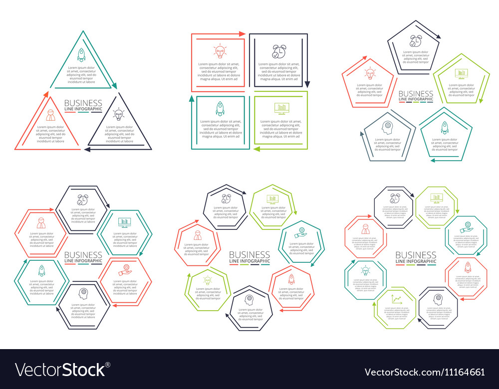 Thin line flat elements for infographic