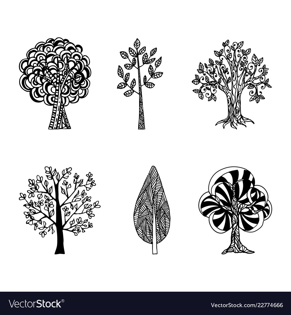 A set of hand-drawn trees tattoo