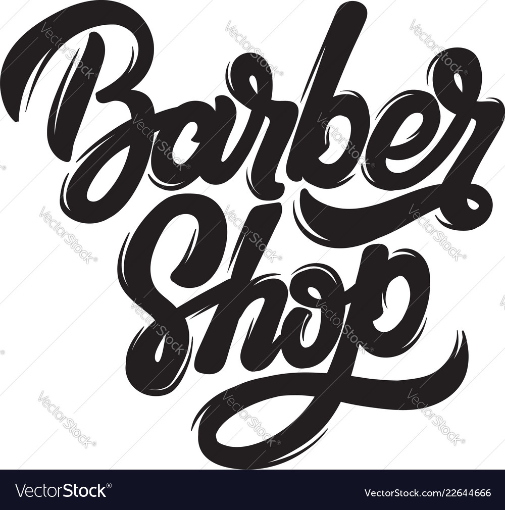 Barber shop handwritten lettering template for