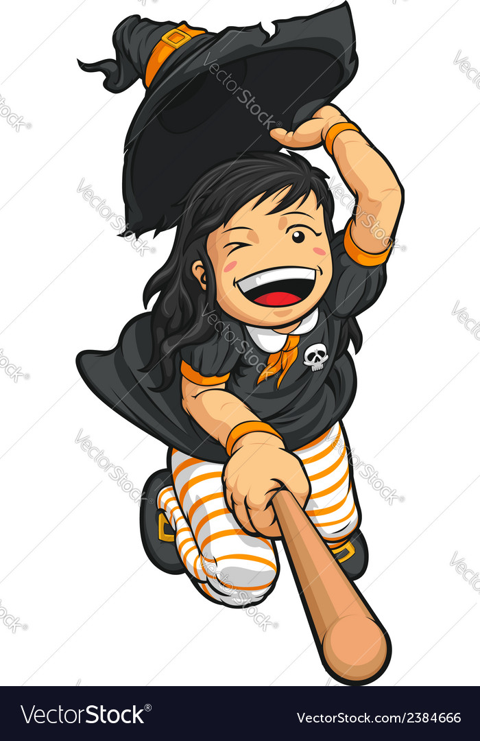 Cartoon of Cheerful Halloween Witch