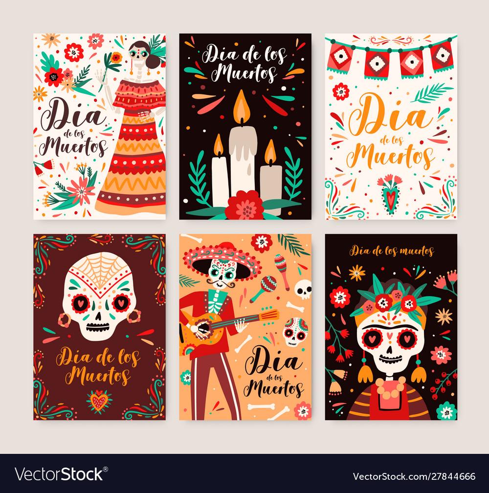 Dia de los muertos posters templates set catrina