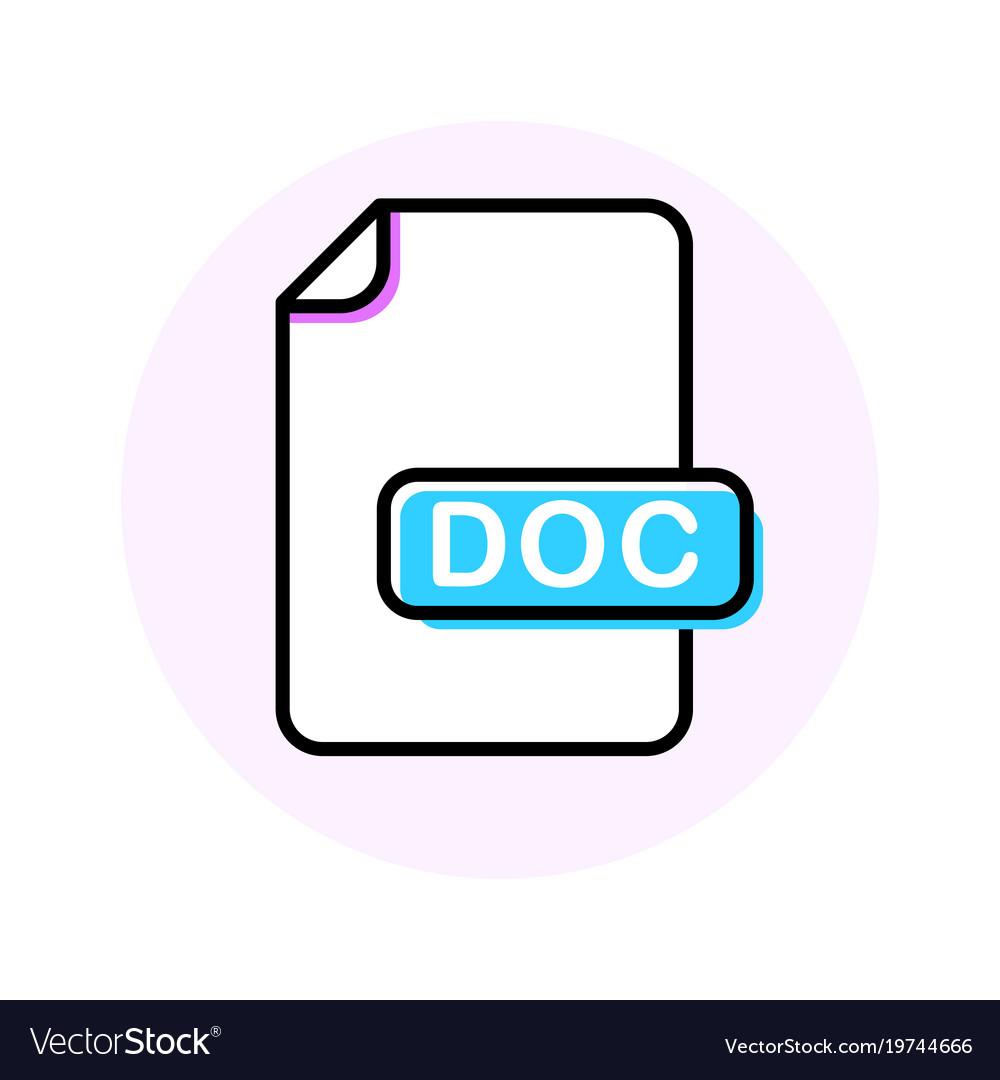 Doc file format extension color line icon
