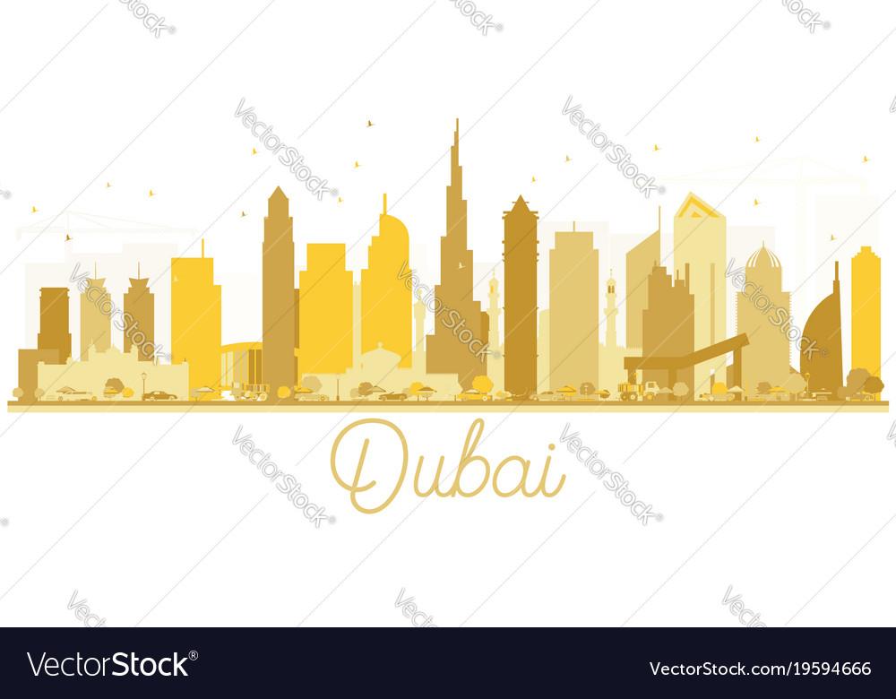 Dubai uae city skyline golden silhouette