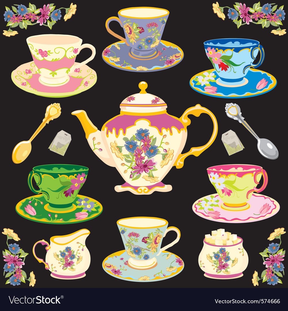 Fancy victorian style tea set vector image