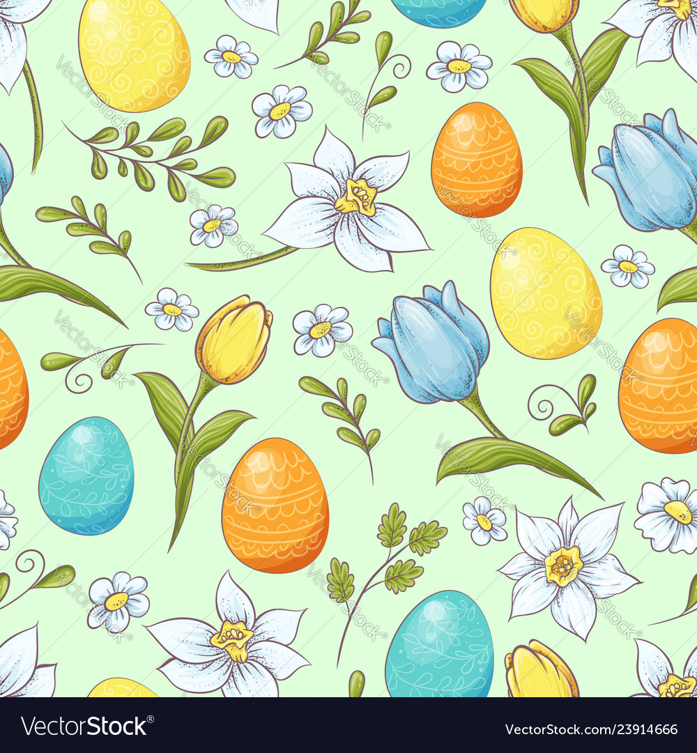 Floral seamless pattern with eggs and stylized