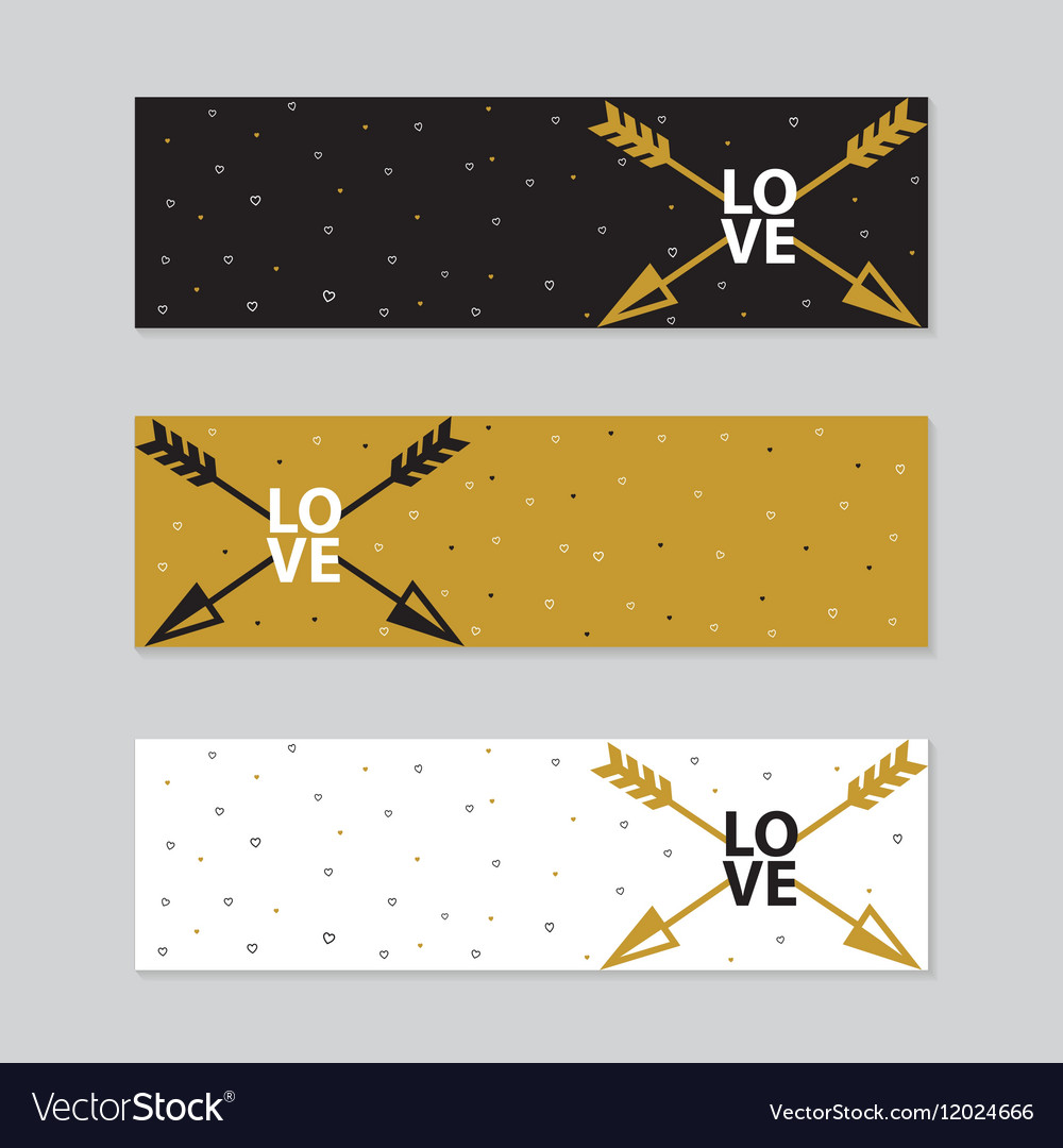 Happy valentines day cards with arrow vector image