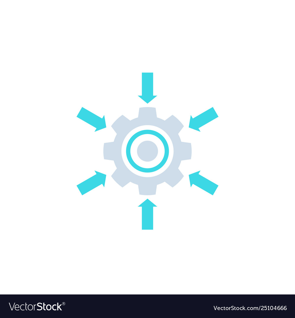Integration system icon with cogwheel and arrows