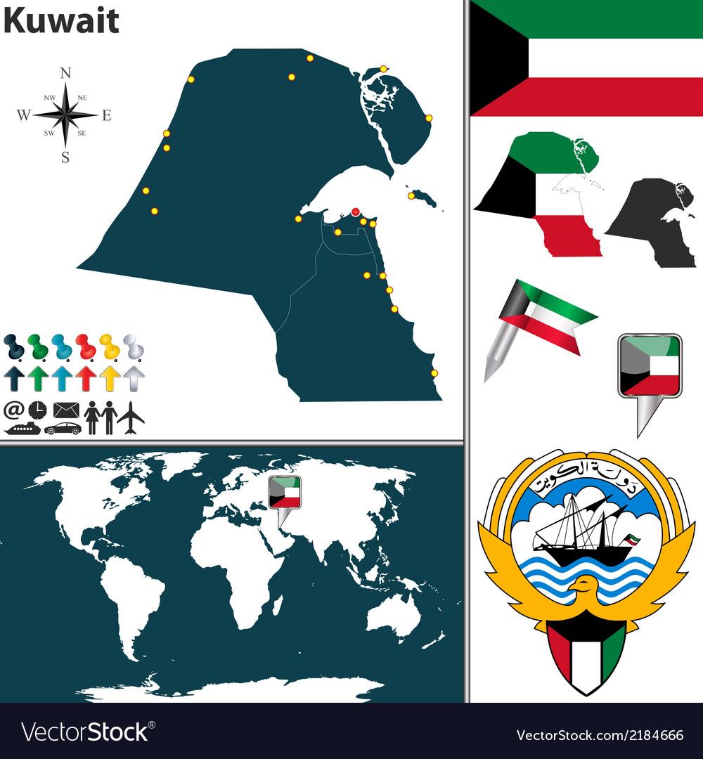 Kuwait map world