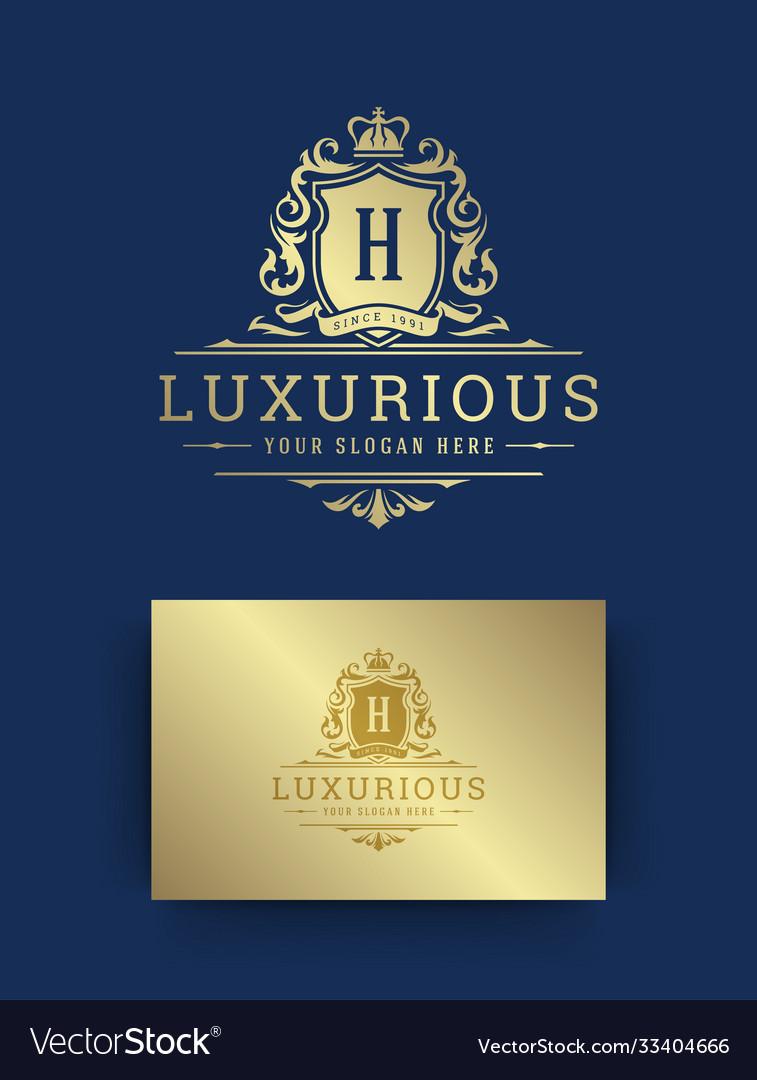 Luxury vintage ornament logo monogram crest