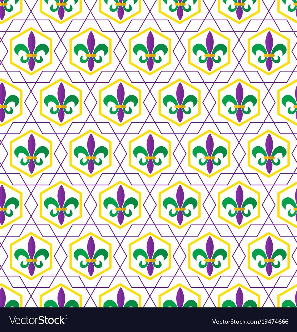 Mardi Gras Fleur De Lis Pattern Repeating Texture Vector Image