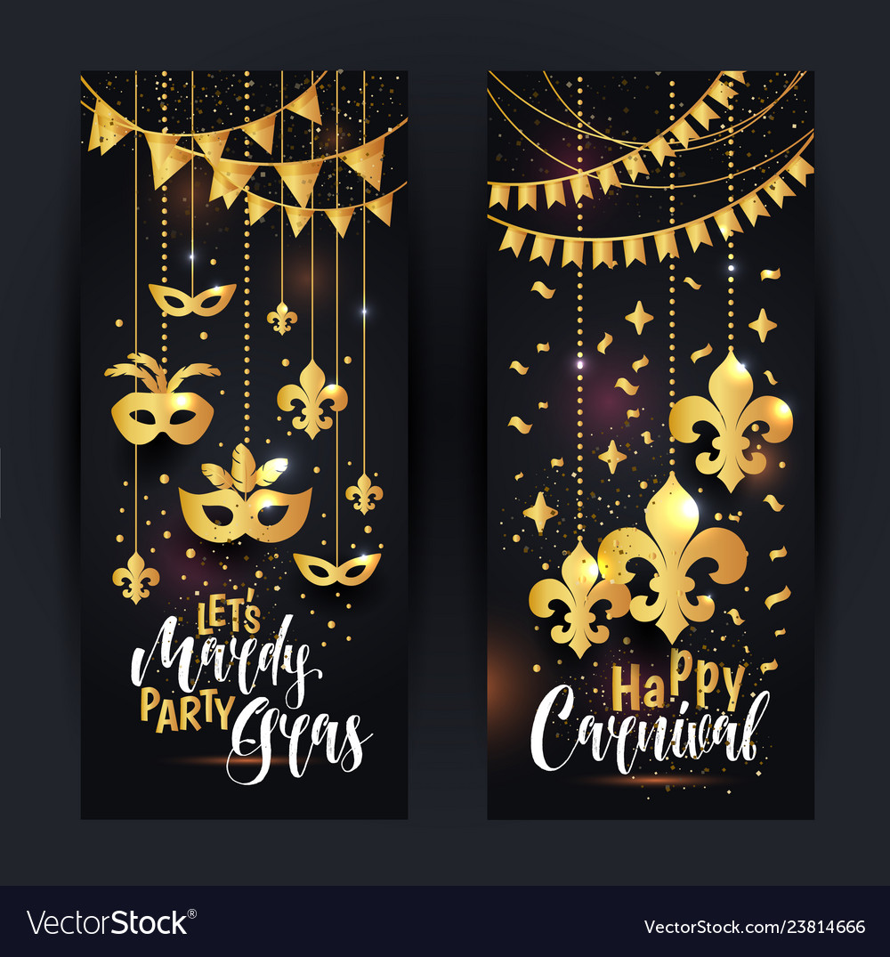 Mardi gras gold vertical banners set with a mask