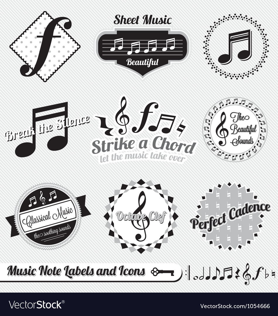 Music Note Labels and Icons vector image