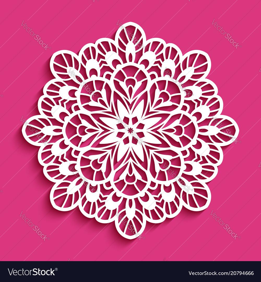 Round lace doily cutout paper pattern
