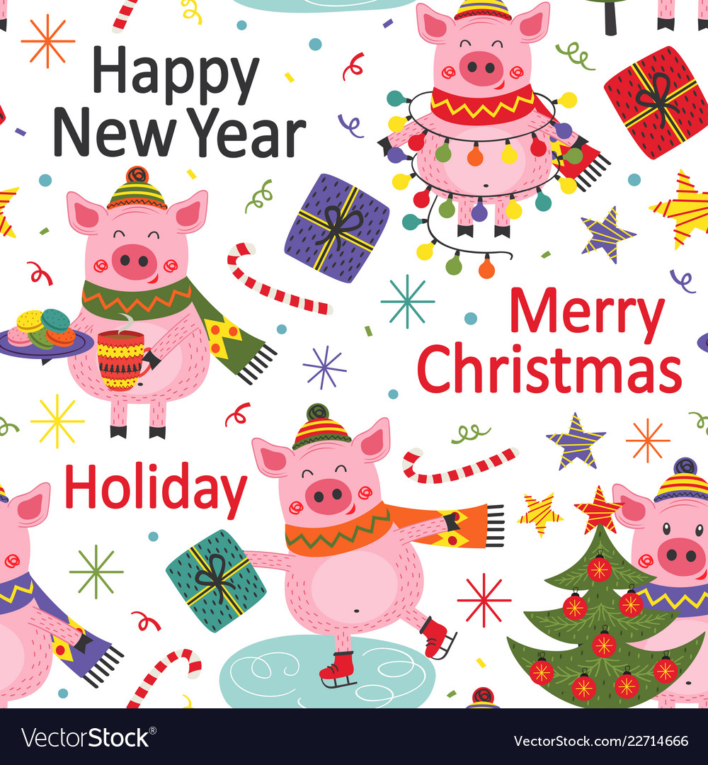Seamless pattern happy new year pig